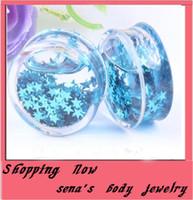 Wholesale Cheap Ear Plugs Jewelry - mix 6-16mm 60pcs lo Cheap liquid Blue star t Acrylic Solid ear plug flesh tunnel piercing body jewelry