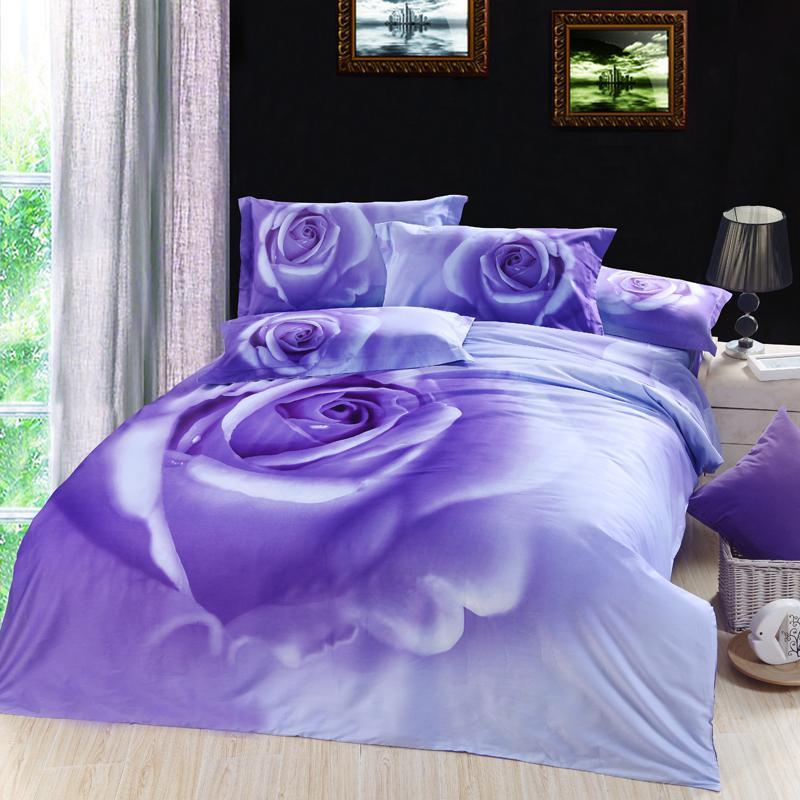 Delightful 3d Lilac Purple Rose Floral Flower Bedding Comforter Set King Queen Size  Duvet Cover Bedspread Bed In A Bag Sheet 100% Cotton King Size Duvet Cover  Sets ...