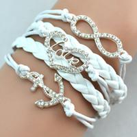 Wholesale Bracelet Imitation Jewellery - Antique Diamonds Charm Anchor Heart Love Infinity Mix 4 Colors Weave Leather Bracelets Fashion Bracelets Jewellery Free Drop Shipping