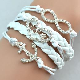 Wholesale Infinity Bracelet Sterling Silver - Antique Diamonds Charm Anchor Heart Love Infinity Mix 4 Colors Weave Leather Bracelets Fashion Bracelets Jewellery Free Drop Shipping