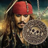 Wholesale Aztec Gold - Vintage Bronze Gold Pirate Aztec Coin Necklace Men's Movie Pendant necklaces
