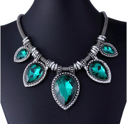 Wholesale Green Gemstone Necklace - 2014 hot sale new Exaggerated fashion restoring ancient gemstone necklaces silver statement necklaces necklace restoring ancient ways