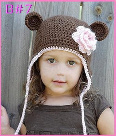 2018 Crochet Flower Pattern Hat Baby Boy Girl Bear Hat Cartoon ...