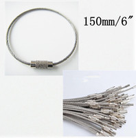 Wholesale Keychain Aircraft - 30pcs Lot Wire Keychain EDC for keys Aircraft Cable Stainless Steel RING FOB 1.5mm