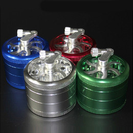 Wholesale Ground Handling - Hot Smoking Cracker 63mm Zinc Alloy Material With 4Layers Handle Blender Four Floors Ground Smoke Detector Tobacco Herb Grinder 4Pockets