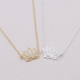 Wholesale Gold Lotus Necklace - Min 1pc ,gold and silver lotus flower necklace ,brass necklace XL022