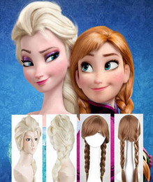 Wholesale White Wig Cosplay Medium - Classic New Cartoon Frozen Anna Elsa Wig Queen Wigs Long Braid Cosplay Anime Wig Ponytail