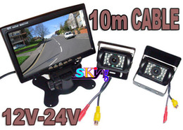 "x vision camera NZ - 12V-24V Car Rear View Kit 2x Reversing Backup Parking Night vision Camera + 7"" LCD Monitor for Bus Truck (free 2 x 10m video cable)"