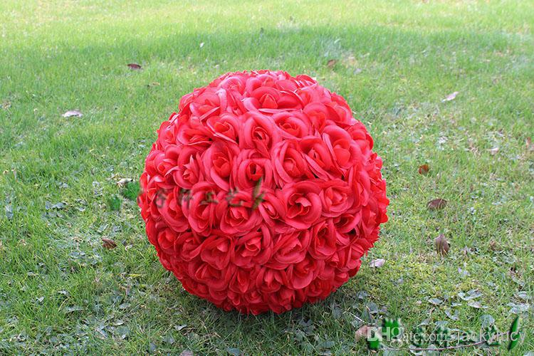 """Red/ pink/white/PURPLE/yellow color 30 CM/12"""" Artificial Silk Rose Flower Kissing Balls for Christmas Ornaments Wedding Party Decorations"""