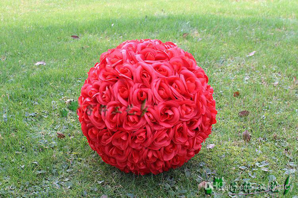 "Red/ pink/white/PURPLE/yellow color 30 CM/12"" Artificial Silk Rose Flower Kissing Balls for Christmas Ornaments Wedding Party Decorations"
