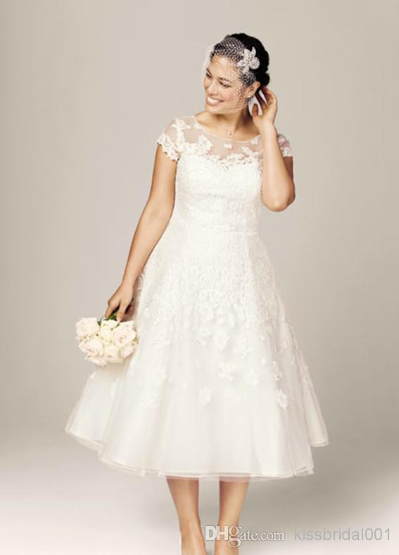 Discount High Quality 2014 Tea Length Plus Size Wedding Dresses ...