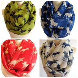 Wholesale Red Christmas Shawl - 2015 New Fashion Moose Infinity Scarf Loop Snood For Women Ladies Shawl,wrap pashmina Christmas Scarves gifts