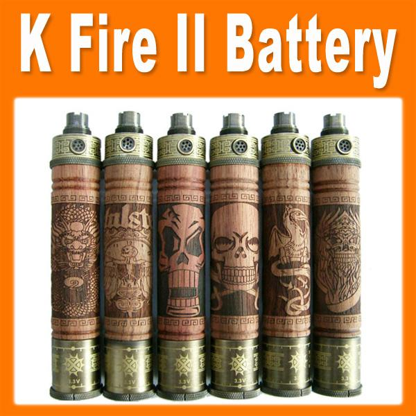 K Fire II Battery Variable Voltage Spinner Battery Metal Bottom 900mAh Battery Wooden Mod K Fire 2 for Electronic Cigarette 0204045