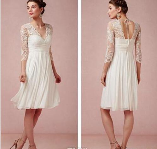 best selling Stunning Short Beach Wedding Dresses V-Neck 3 4 Sleeve Knee Length Column Lace Chiffon Lovely Bridal Gowns Custom Made W9
