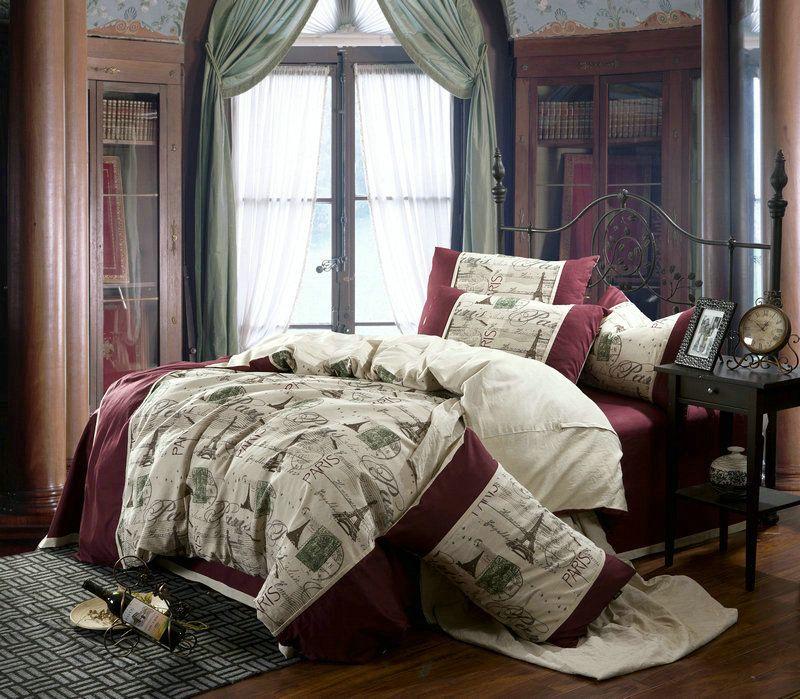 Linen Vintage Paris Eiffel Tower Bedding Comforter Set Queen Size Duvet  Cover Bedspread Bed In A Bag Sheet Bedroom Fashion Bedclothes Bedclothes  Bedsheet ...