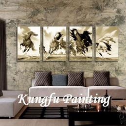 Wood Wall Hangings Art Australia - handmade running horses painting on canvas hanging on wall modern wood wall art 4 pieces panel art animal artwork living room decoration