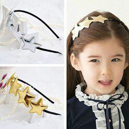Wholesale Baby Silver Hair - New Gold Silver Star Hair Bows Children Girls Hair Accessories Kids Baby Hair Things Baby Sparkle Hair Bow Fashion Hair Band 20pcs lot A559