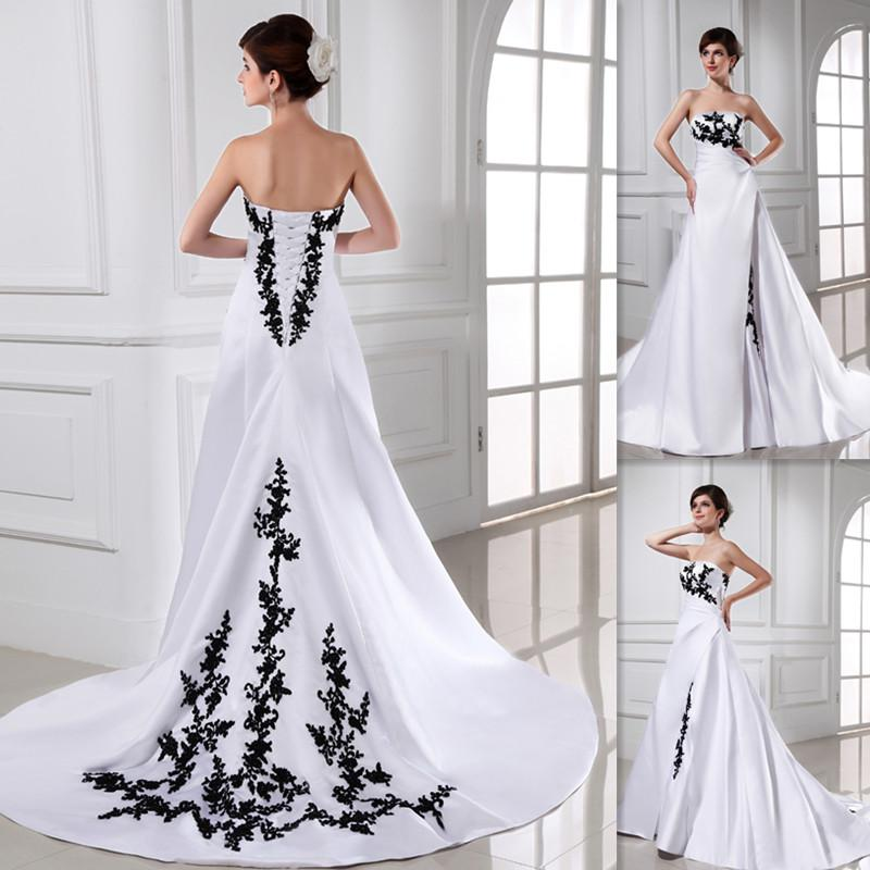 Romantic White And Black Wedding Dresses A Line Satin Sweep Train Lace Up 2015 Bridal Gowns Vestido De Noiva Western Cheap Bride Dress USA 2018 From
