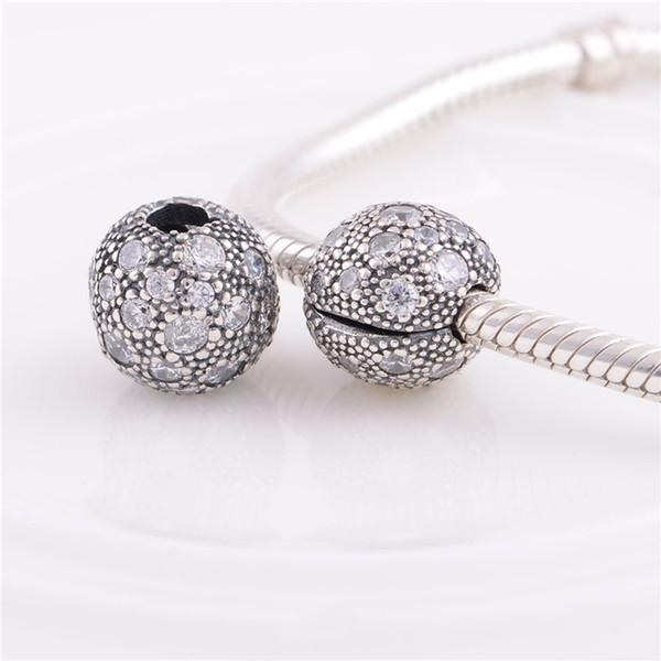 Braccialetti d'argento 925 dei monili dei branelli dei braccialetti di Pandora dei fermi della clip di cristallo di fascino del fermacarte, braccialetto europeo di fascino adatto di DIY per le donne