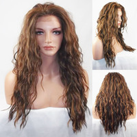 Wholesale Long Layers Wig - Deep Wave Heat Safe Synthetic Wigs Swiss Lace Front Wig with Layers in #4 27 30 Dark Brown Strawberry Auburn Sales Promotion