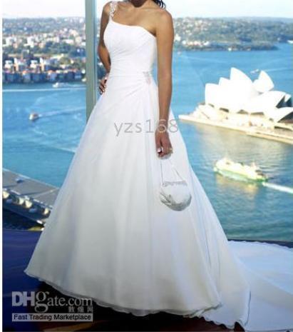 Elegant Hot Sell One Shoulder White Chapel Train Wedding Dress ...