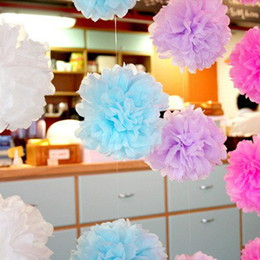 Wholesale Wedding Flower Paper - Wholesale-Free Shipping 10 Inch 10pcs Lot Paper Pom Poms Wedding Decorative Flower Ball Wedding Peony