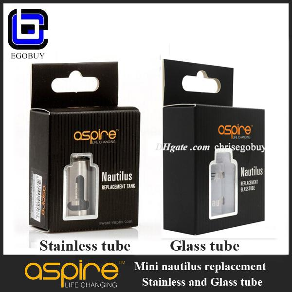 E cigs Aspire mini Nautilus replacement pyrex glass tank stainless T window sleeve tube for 2.0ml aspire Nautilus mini replacement BVC coil