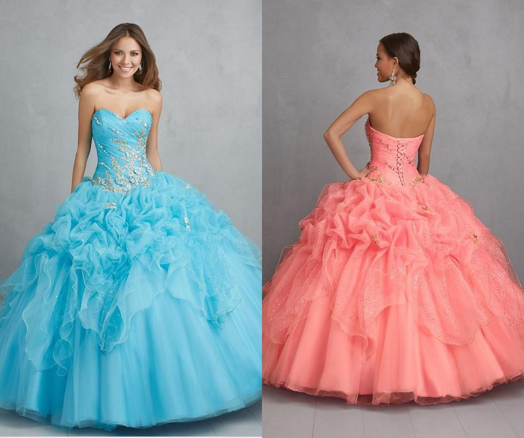 New 2015 Coral Ball Gown Sexy Backless Quinceanera Dresses ...