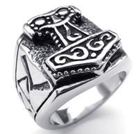 ingrosso grandi anelli economici-Grande martello in acciaio inossidabile 316L di anelli Thor da gioielli di mitologia in Egitto a prezzi di fabbrica economici con formato americano da 8 a 16