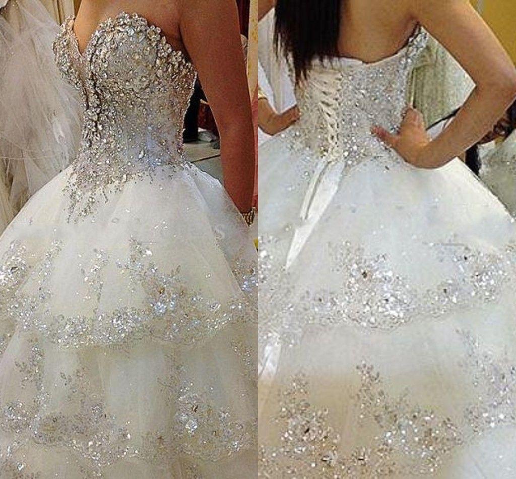 2015 Sexy Ivory Rhinestone Wedding Dresses Beaded