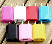 Wholesale Apple Iphone 5c Wall Charger - Wholesale - 5V 1000mah Colorful EU US Plug USB Wall Charger AC Power Adapter Home Charger for iphone 4 4S 5 5G 5S 5C Samsung Galaxy S3 S4 S5