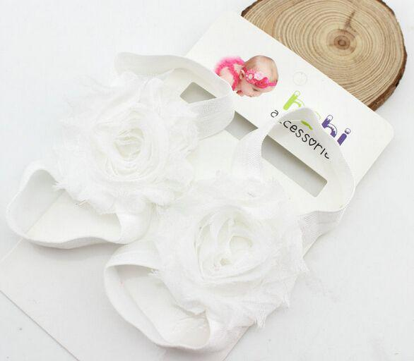 Infant baby sandals chiffon flower shoes cover barefoot foot flower ties infant children girl kids first walker shoes Photography props