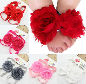 Wholesale Toddler baby sandals chiffon flower shoes cover barefoot foot flower ties infant children girl kids first walker shoes Photography props