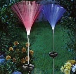 2pcs Solar Power LED fibra ottica Colorfull luce lampada da giardino Prato Prato percorso Patio Outdoor Natale Decorazione regalo da
