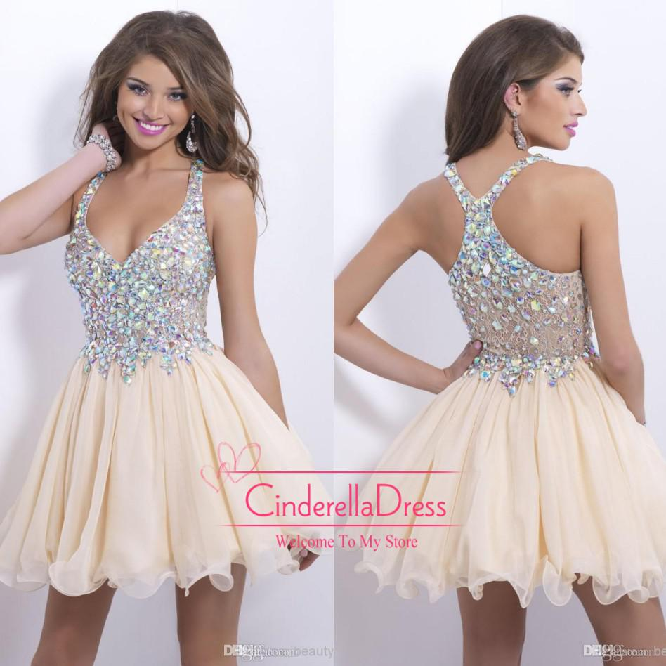 2016 Sexy Royal Blue Plunging V Neck Backless Short Prom Dresses ...