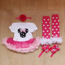 Wholesale Girls Set Bow Skirt Legging - newborn girl Christmas gift 4pcs set infant toddler ruffle skirt romper jumpsuit + headband + lace legging leg warmer + bow shoes kid outfit