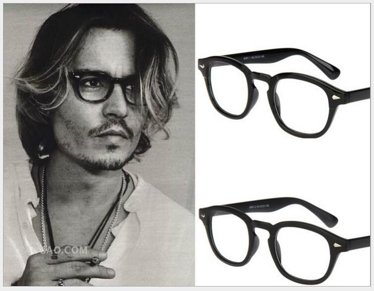 2014 new fashion eyeglasses men vintage rivets glasses frame plain mirror super star johnny depp women brand myopia glasses g107 accessories cheap