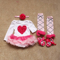 Wholesale Girls Set Bow Skirt Legging - newborn girl Christmas gift 4pcs set infant toddler ruffle skirt romper cake jumpsuit + headband + lace legging + dot shoes kid baby outfit