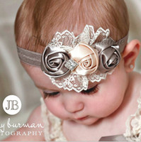 Wholesale Diamond Flower Lace Headband - baby girl rose flower diamond rhinestone lace headbands kids children elastic hair band party Christmas hair jewelry Photography props