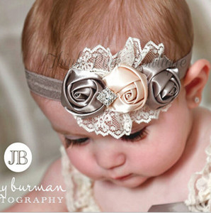 Wholesale baby girl rose flower diamond rhinestone lace headbands kids children elastic hair band party Christmas hair jewelry Photography props