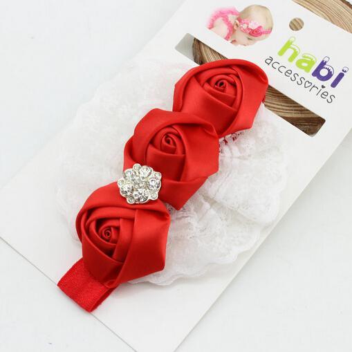 bébé fille rose fleur diamant strass dentelle bandeaux enfants enfants élastique cheveux bande fête Noël cheveux bijoux photographie accessoires