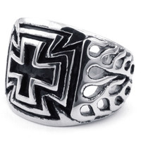Wholesale cross casting - Biker Crafted Casting in Stainless Steel Cross Flame Ring 10023530