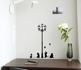 Wholesale Decals Girl Bird - Lamp & Cat Bird Removable Wall Sticker Decal Kids Boys Girls Room Home Decor Free Shipping