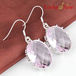 Wholesale Crystal Dangle Earrings Wholesale - Luckyshine Christmas Day Two pieces lot 925 silver plated Fashion-forward Lovely pink topaz crystal earrings for lady party gift E093