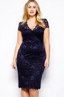 Wholesale Dress Summer Fat - Hot Big Size Lace Elegant Dress Fat Women Summer Female Clothing T6415 Plus Size XL XXL XXXL Short Sleeve Lady Large Size Dress Clothes