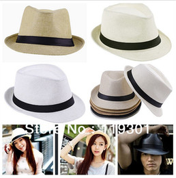 Wholesale Fedora Sale - Free Shipping 2014 Fashion Unisex Solid Braid Fedora Trilby Gangster Cap Summer Beach Sun Straw Panama Hat Panama Hats Hot Sale