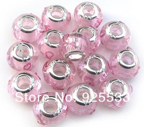 Mix Color Charms 14mm Glass 925 Stering Silver Plated Core Pink Silk Ribbon Big Hole Loose Beads fit European Jewelry Braclet Charms DIY