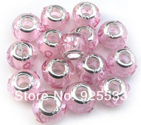 Wholesale Wholesale European Charm Braclet Beads - Mix Color Charms 14mm Glass 925 Stering Silver Plated Core Pink Silk Ribbon Big Hole Loose Beads fit European Jewelry Braclet Charms DIY