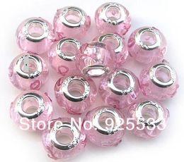 Mix Charms Couleur 14mm en verre 925 Argent plaqué noyau direction soie rose ruban grand trou perles en vrac bijoux européens adaptent Charms Braclet Bricolage en Solde