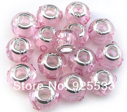 Wholesale Glass Silver Core Beads - Mix Color Charms 14mm Glass 925 Stering Silver Plated Core Pink Silk Ribbon Big Hole Loose Beads fit European Jewelry Braclet Charms DIY